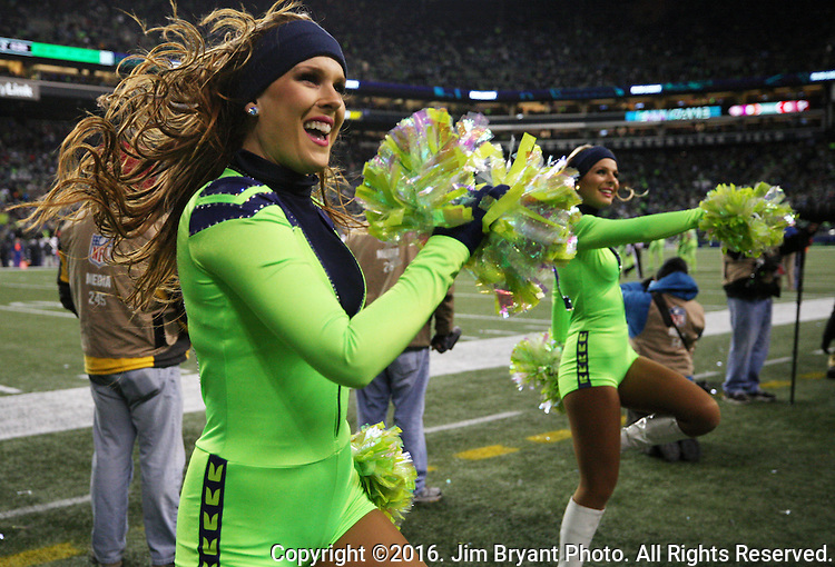 Seattle Seahawks dance team, the Seagulls, perform during along the sidelines during their game against the Los Angeles Rams at CenturyLink Field in Seattle, Washington on December 15, 2016.  The Seahawks beat the Rams 24-3. ©2016. Jim Bryant Photo. All Rights Reserved