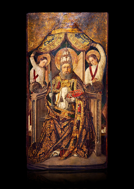 Gothic Catalan altarpiece of Saint Peter enthroned, by Roderic d'Orsona of Valencia, circa 1475, tempera and gold leaf on wood.  National Museum of Catalan Art, Barcelona, Spain, inv no: MNAC 15816. Against a black background.