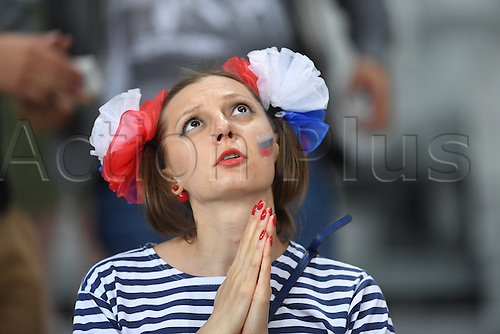 15.06.2016. Lille, France.  A female Russian fan looks up at the videos creen before the UEFA Euro 2016 Group B soccer match Russia and Slovakia at Stade Pierre Mauroy in Lille Metropole, France, 15 June 2016.