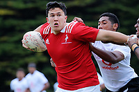Lukas Halls in action during the rugby match between New Zealand Schools Barbarians and Fiji Schools at Jerry Collins Stadium in Porirua, Wellington, New Zealand on Friday, 1 October 2018. Photo: Dave Lintott / lintottphoto.co.nz