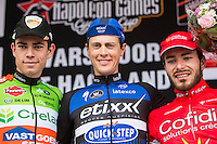 Niki Terpstra (NLD/Etixx-QuickStep) wins the first edition of Dwars door het Hageland 2016.<br /> CX World Champion Wout Van Aert (BEL/Crelan-Vastgoedservice) is 2nd and Florian Senechal (FRA/Cofidis) 3rd.<br /> (pic by Léon Van Bon)