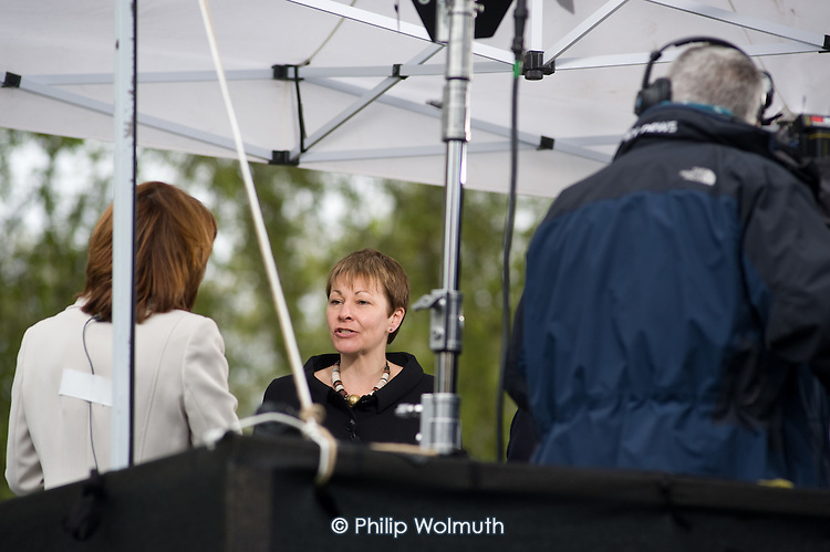 Newly elected Green MP Caroline Lucas  is interviewed by Sky News on College Green, Westminster, as politicians from the three main parties negotiate following an indecisive result in the 2010 General Election.