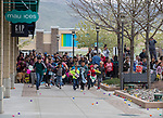 Children start the mad dash to collect eggs during the Easter Egg Hunt at Legends in Sparks, Nevada on Saturday, April 20, 2019.