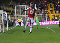BOGOTA -COLOMBIA, 8-10-2016.Jonathan Gómez jugador de Independiente Santa Fe   celebra su gol contra  Jaguares FC  durante encuentro  por la fecha 15 de la Liga Aguila II 2016 disputado en el estadio Metropolitano de Techo./Jonathan Gómez player of Santa Fe  celebrates his goal against  of  Jaguares FC during match for the date 15 of the Aguila League II 2016 played at Metropolitano de Techo stadium . Photo:VizzorImage / Felipe Caicedo  / Staff