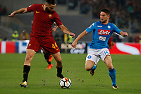 Dries Mertens Konstantinos Manolas  during the  italian serie a soccer match, AS Roma -  SSC Napoli       at  the Stadio Olimpico in Rome  Italy , 14 ottobre 2017