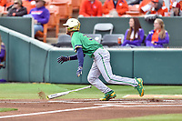 Notre Dame Fighting Irish left fielder Jake Johnson (39) runs to first base during a game against the Clemson Tigers at Doug Kingsmore Stadium on March 11, 2017 in Clemson, South Carolina. The Tigers defeated the Fighting Irish 6-5. (Tony Farlow/Four Seam Images)