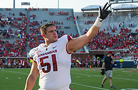 NWA Democrat-Gazette/BEN GOFF @NWABENGOFF<br /> Ricky Stromberg, Arkansas offensive lineman, waves to fans during warmups before the game vs Ole Miss Saturday, Sept. 7, 2019, at Vaught-Hemingway Stadium in Oxford, Miss.