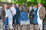 Minister John ODonoghue unveils the Johnny OLeary sculpture watched by the OLeary family in Killarney last Saturday. L-r: John OShea (organiser), Maureen, Seanie, Minister John ODonoghue, Lil, Ellen and Mike Kenny (Sculptor)..