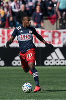 FOXBOROUGH, MA - MARCH 7: Cristian Penilla #70 of New England Revolution brings the ball forward during a game between Chicago Fire and New England Revolution at Gillette Stadium on March 7, 2020 in Foxborough, Massachusetts.
