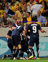USA team celebrates the goal of 17 Juan Agudelo during the  Soccer match between South Africa and USA played at the Greenpoint in Cape Town South Africa on 17 November 2010.