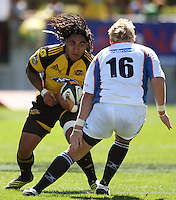 Hurricanes second five Ma'a Nonu tries to step round Adriaan Strauss..Super 14 rugby union match, Hurricanes v Cheetahs at Yarrows Stadium, New Plymouth, New Zealand. Saturday 7 March 2009. Photo: Dave Lintott / lintottphoto.co.nz