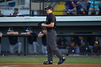 Home plate umpire Lane Culipher works the Appalachian League game between the Pulaski Yankees and the Burlington Royals at Burlington Athletic Stadium on August 25, 2019 in Burlington, North Carolina. The Yankees defeated the Royals 3-0. (Brian Westerholt/Four Seam Images)