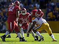 NWA Democrat-Gazette/BEN GOFF @NWABENGOFF<br /> Donnie Alexander (48), LSU linebacker, stops Jonathan Nance, Arkansas wide receiver, after a catch in the fourth quarter Saturday, Nov. 11, 2017 at Tiger Stadium in Baton Rouge, La.