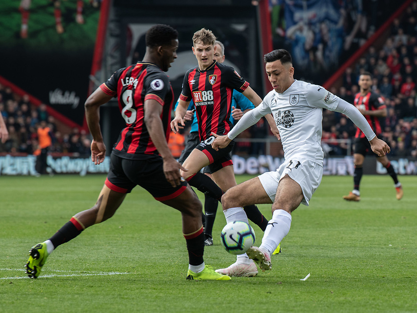Burnley's Dwight McNeil (right) is tackled by Bournemouth's Jefferson Lerma (left) <br /> <br /> Photographer David Horton/CameraSport<br /> <br /> The Premier League - Bournemouth v Burnley - Saturday 6th April 2019 - Vitality Stadium - Bournemouth<br /> <br /> World Copyright © 2019 CameraSport. All rights reserved. 43 Linden Ave. Countesthorpe. Leicester. England. LE8 5PG - Tel: +44 (0) 116 277 4147 - admin@camerasport.com - www.camerasport.com