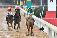HOT SPRINGS, AR - FEBRUARY 19: Hwaakom #3 (far right) ,with jockey Corey Lanerie winning the Razorback Handicap at Oaklawn Park on February 19, 2018 in Hot Springs, Arkansas. (Photo by Ted McClenning/Eclipse Sportswire/Getty Images)