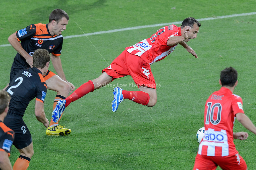 MELBOURNE - 9 NOV: Richard GARCIA of the Heart is fouled in the round six A-League match between the Melbourne Heart and Brisbane Roar at AAMI Park on 9 November 2012. (Photo Sydney Low/syd-low.com/Melbourne Heart)