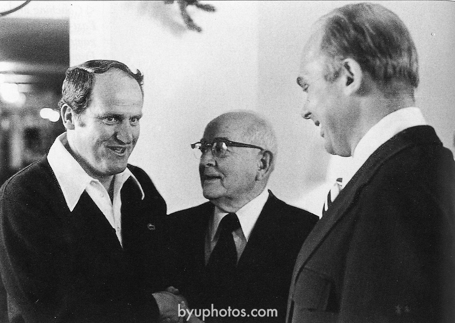 292 Kimball Oaks<br /> <br /> Coach LaVell Edwards with President Spencer W. Kimball and University President Elder Dallin H. Oaks<br /> <br /> Photo by Mark Philbrick/BYU<br /> <br /> Copyright BYU Photo 2009<br /> All Rights Reserved<br /> photo@byu.edu  <br /> (801)422-7322