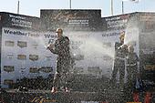 #73 Park Place Motorsports Porsche 911 GT3 R, GTD: Patrick Lindsey, J?rg Bergmeister, #86 Michael Shank Racing with Curb-Agajanian Acura NSX, GTD: Katherine Legge, Alvaro Parente, #33 Riley Motorsports Mercedes AMG GT3, GTD: Jeroen Bleekemolen, Ben Keating, podium, champagne