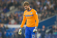 Felix Wiedwald of Leeds United looks dejected during the Sky Bet Championship match between Cardiff City and Leeds United at the Cardiff City Stadium, Cardiff, Wales on 26 September 2017. Photo by Mark  Hawkins / PRiME Media Images.