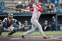 Indiana Hoosiers designated hitter Matt Lloyd (14) fouls a ball off his foot against the Michigan Wolverines during the NCAA baseball game on April 21, 2017 at Ray Fisher Stadium in Ann Arbor, Michigan. Indiana defeated Michigan 1-0. (Andrew Woolley/Four Seam Images)