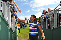 Ben Tapuai of Bath Rugby celebrates the win with supporters. Aviva Premiership match, between Bath Rugby and Saracens on September 9, 2017 at the Recreation Ground in Bath, England. Photo by: Patrick Khachfe / Onside Images
