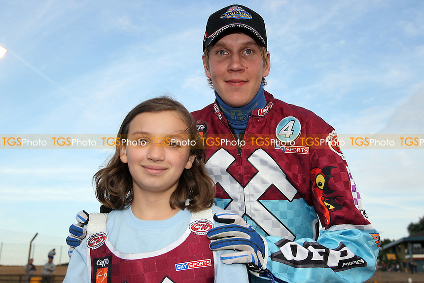Lakeside mascot with rider Kauko Nieminen - Lakeside Hammers vs Belle Vue Aces - Sky Sports Elite League Speedway at Arena Essex Raceway, Purfleet - 31/07/09 - MANDATORY CREDIT: Gavin Ellis/TGSPHOTO - Self billing applies where appropriate - Tel: 0845 094 6026