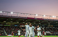 Celebrations as Demarai Gray (Leicester City) of England U21 scores the opening goal during the UEFA EURO U-21 First qualifying round International match between England 21 and Latvia U21 at the Goldsands Stadium, Bournemouth, England on 5 September 2017. Photo by Andy Rowland.