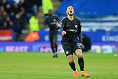 18th March 2018, King Power Stadium, Leicester, England; FA Cup football, quarter final, Leicester City versus Chelsea; Eden Hazard of Chelsea reacts as a foul is given against him