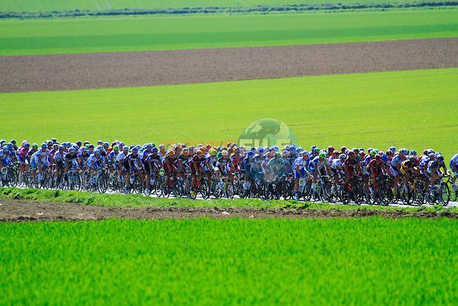 The pelethon passes near Busigny during the 109th edition of the Paris-Roubaix cycle race, 10th April 2011 (Photo by Eoin Clarke/NEWSFILE)