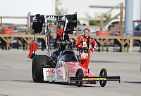Sept. 30, 2012; Madison, IL, USA: NHRA top fuel dragster driver Doug Kalitta during the Midwest Nationals at Gateway Motorsports Park. Mandatory Credit: Mark J. Rebilas-