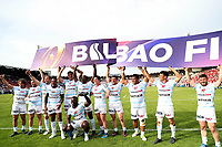 Players of Racing 92 celebrate victory during the European Rugby Champions Cup Semi Final match between Racing 92 and Munster at Stade Chaban Delmas on April 22, 2018 in Bordeaux, France. (Photo by Manuel Blondeau/Icon Sport)
