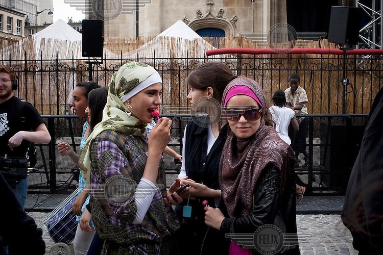 Young Muslim women in La Goutte d'Or neighbourhood in Paris.