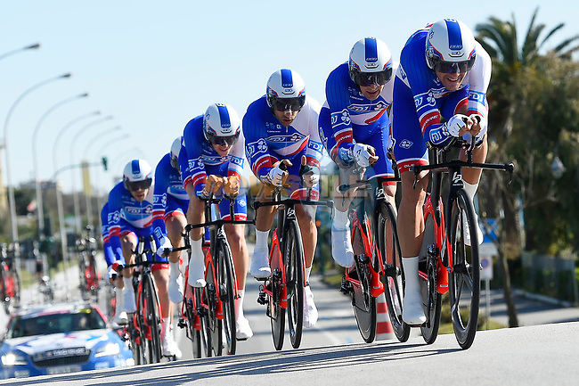 FDJ team in action during the 1st stage of the race of the two seas, 52nd Tirreno-Adriatico by NamedSport a 22.7km Team Time Trial around Lido di Camaiore, Italy. 8th March 2017.<br /> Picture: La Presse/Fabio Ferrari | Cyclefile<br /> <br /> <br /> All photos usage must carry mandatory copyright credit (&copy; Cyclefile | La Presse)