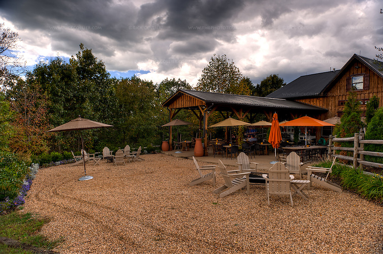 The back deck and gravel seating area at Vintage Ridge Vineyards.  (HDR image)