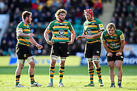 Teimana Harrison, Tom Wood, Christian Day and Mike Haywood of Northampton Saints. Aviva Premiership match, between Northampton Saints and Leicester Tigers on April 16, 2016 at Franklin's Gardens in Northampton, England. Photo by: Patrick Khachfe / JMP