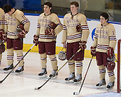 Ryan Fitzgerald (BC - 19), Michael Sit (BC - 18), Adam Gilmour (BC - 14), Johnny Gaudreau (BC - 13) - The Boston College Eagles defeated the University of Denver Pioneers 6-2 in their NCAA Northeast Regional semi-final on Saturday, March 29, 2014, at the DCU Center in Worcester, Massachusetts.