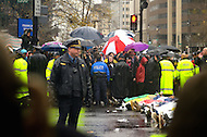 December 7, 2011  (Washington, DC)  OccupuDC protesters lay down and block K Street on a day chilled with winter rain.  Dozens of protesters were arrested after refusing to obey police orders to clear the street.   (Photo by Don Baxter/Media Images International)