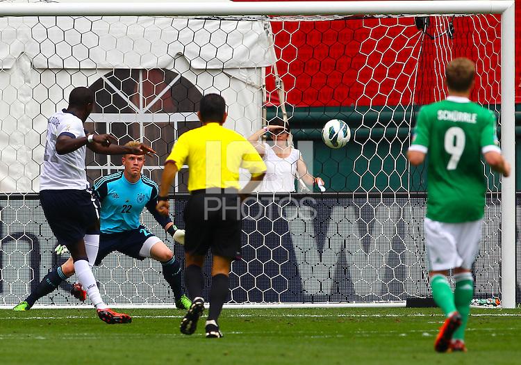 WASHINGTON, DC - June 02 2013: USA MNT v Germany MNT in the US Soccer Centennial match at RFK Stadium, in Washington DC. Jozy Altidore scores first USA goal. USA won 4-3.