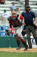 July 4th 2008:  Catcher Cesar Cordido (23) of the Brooklyn Cyclones, Class-A affiliate of the NY Mets, during game at Bowman Field in Williamsport, PA.  Photo by:  Mike Janes/Four Seam Images
