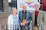Pictured at the launch of Paddy Bushe book of poetry 'On a Turning Wing' at Cahersiveen Library on Friday evening were l-r; Noreen O'Sullivan, Paddy Bushe & Sean Garvey.