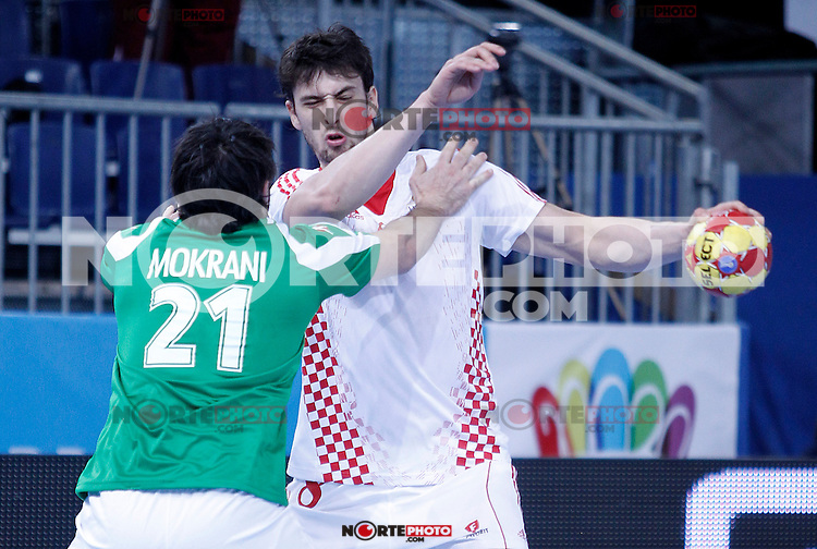 Algeria's Mohamed Aski Mokrani (l) and Croatia's Marko Kopljar during 23rd Men's Handball World Championship preliminary round match.January 14,2013. (ALTERPHOTOS/Acero) 7NortePhoto
