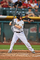 Shane Robinson (7) of the Salt Lake Bees bats against the Fresno Grizzlies at Smith's Ballpark on September 3, 2017 in Salt Lake City, Utah. The Bees defeated the Grizzlies 10-8. (Stephen Smith/Four Seam Images)