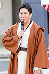 Norihiko Fukuda, mayor of Kawasaki City, dressed in costumes of Star Wars characters takes part in a ceremony for Halloween parade in Kawasaki, near Tokyo, on Sunday, October 25, 2015. (Photo by AFLO)