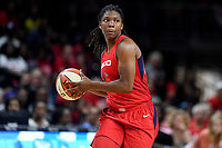 Washington, DC - August 25, 2019: Washington Mystics forward Myisha Hines-Allen (2) looks to pass the ball during second half action of game between the New York Liberty and the Washington Mystics at the Entertainment and Sports Arena in Washington, DC. The Mystics defeated New York 101-72. (Photo by Phil Peters/Media Images International)