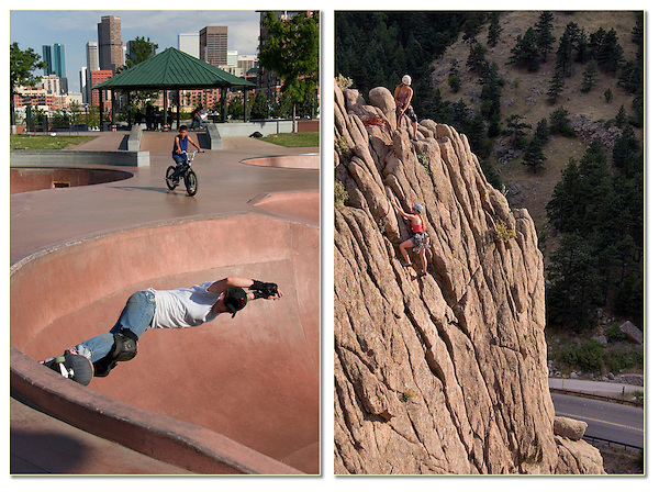 Skateboarder and rock climbers in Front Range, Colorado.