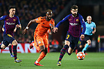 UEFA Champions League 2018/2019.<br /> Round of 16 2nd leg.<br /> FC Barcelona vs Olympique Lyonnais: 5-1.<br /> Moussa Dembele vs Gerard Pique.
