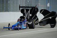 Feb. 10, 2012; Pomona, CA, USA; NHRA top alcohol dragster driver Brooks Brown during qualifying at the Winternationals at Auto Club Raceway at Pomona. Mandatory Credit: Mark J. Rebilas-