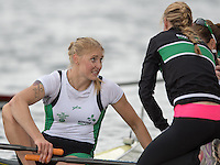 Lucerne, SWITZERLAND<br /> <br /> left. IRL W1X, Sanita PUSPURE. Chat's with Claire LAMBE and Sinead JENNINGS after sucuring a place at the Rio Olympics games.2016 European Olympic Qualifying Regatta, Lake Rotsee.<br /> <br /> Tuesday  24/05/2016<br /> <br /> [Mandatory Credit; Peter SPURRIER/Intersport-images]