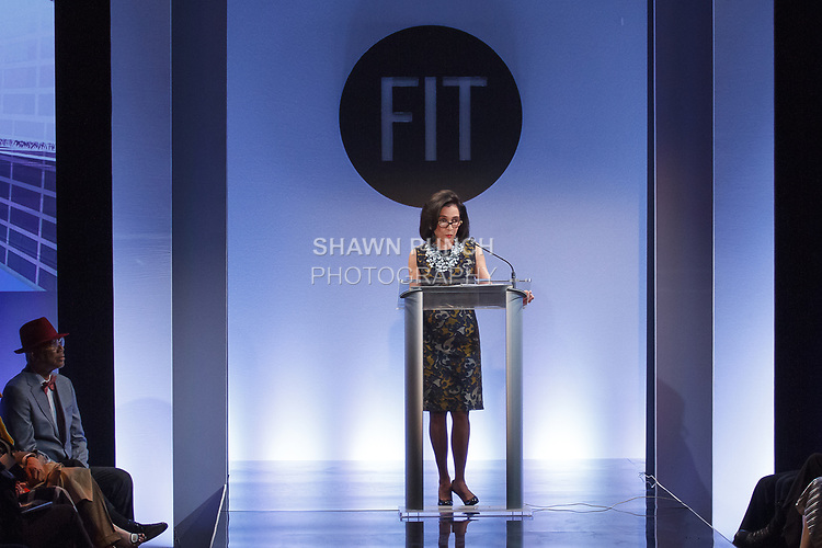Dr. Joyce F. Brown speaks at the Future of Fashion 2017 runway show at the Fashion Institute of Technology on May 8, 2017.