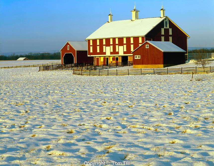 Barn in snow near battlefield, Gettsburg Military Park, Pennsylvania, Civil War Battlefield